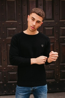 Mens Black Twist Knit Crew Jumper