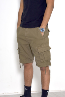 Mens Khaki Manchester Utility Pockets Shorts