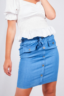 Light Wash Button Front Paperbag Waist Denim Skirt
