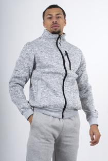 Mens Grey Marl Textured Borg Lined Sweatshirt