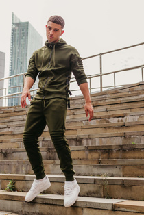 Mens Khaki 3/4 Sleeve Ribbed Detail Tracksuit