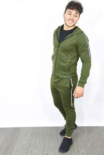 Mens Khaki Side Stripe Zip Through Hooded Skinny Tracksuit