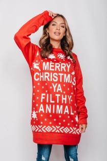 Red Merry Christmas Ya Filthy Animal Jumper Dress