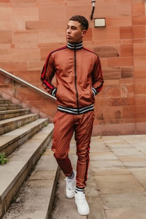 Mens Brown Funnel Printed Skinny Fit Tracksuit