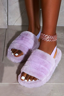 Purple Fluffy Faux Fur Stripe Slipper