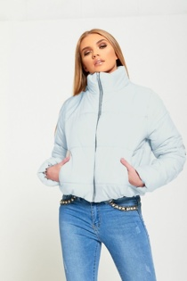Sky Blue Cropped High Neck Puffer Jacket