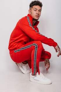Mens Red Zip Ankle Detail Chequered Stripe Skinny Tracksuit