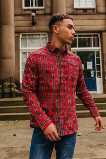 Mens Red Tartan Print Long Sleeve Shirt