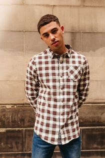 Mens White Tartan Print Long Sleeve Shirt