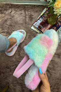 Tie Dye faux fur fluffy stripe slippers