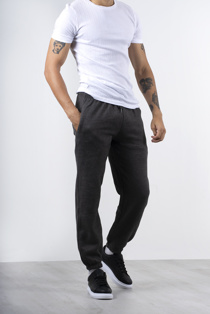 Mens Charcoal Basic Cuffed Joggers