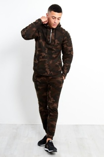 Mens Camo Print Tracksuit With Ripped Pannel Sleeves