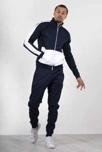 Mens Navy Two Tone Zip Through Tracksuit