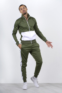 Khaki Two Tone Zip Through Tracksuit