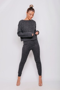 Charcoal Cable Knit Long Sleeve Jumper & Legging Lounge Set