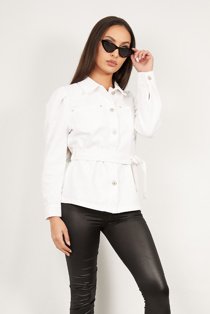 White Puff Sleeves Belted Denim Jacket