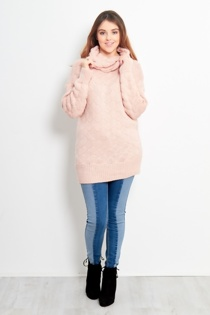 Baby Pink Cowl Neck Long-line Knitted Jumper