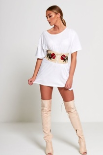 Beige Floral Embroidered Corset Belt