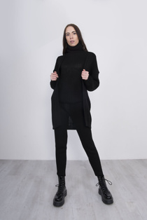 Black 3 Piece Knitted Roll Neck Lounge Set