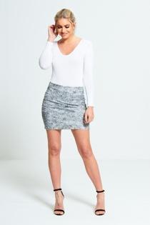 Black And White Print Eyelet Detail Mini Skirt