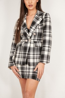Black And White Tweed Blazer And Skirt Co-Ord
