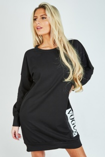 Black Contrast Stripe Vogue Print Sweat Dress