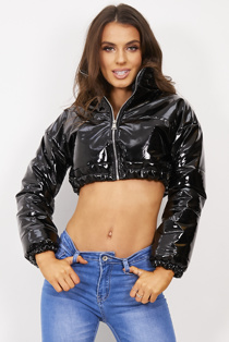 Black Cropped Vinyl Puffer Jacket