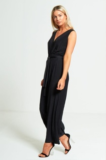 Black Culotte Pleated Jumpsuit