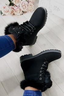 Black Faux Fur Lined Lace Up Stud Boots