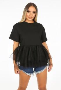 Black Mesh Hem Layer T-Shirt
