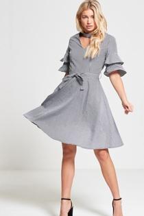 Black Monochrome Gingham Check Dress