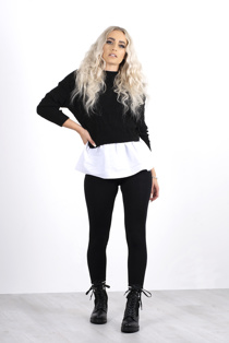 Black Long Sleeve Knit Jumper With Shirt