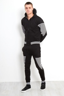Black Skinny Fit Striped Hooded Tracksuit