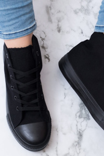 Mono Black High Top Canvas Trainers