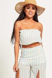 Blue Babydoll Stripe Off Shoulder Top Set