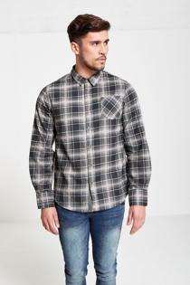 Mens Black Check Button Up Shirt