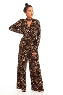 Brown Leopard Print Cross Over Jumpsuit