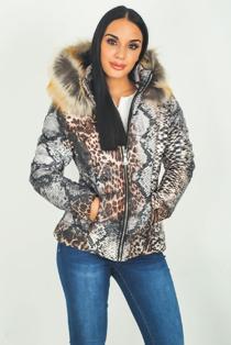Tan Snake Print Faux Fur Hood Puffer Jacket