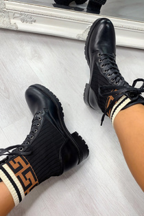 Brown Sock Insert Lace Up Ankle Boots