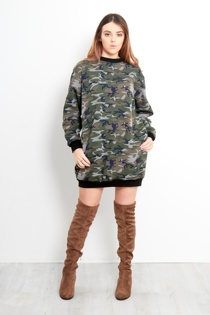 Camo Print Oversized Sweatshirt Dress
