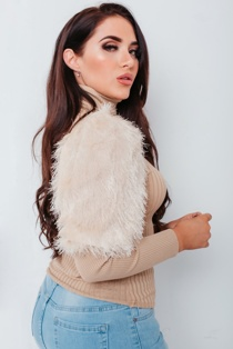 Chloe Brockett Beige Fluffy Puff Sleeves Roll Neck Ribbed Jumper