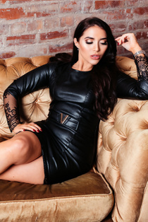 Chloe Brockett Black PU Lace Trim Belted Bodycon Dress