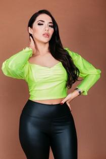 Chloe Brockett Neon Lime Puff Sleeves Crop Top