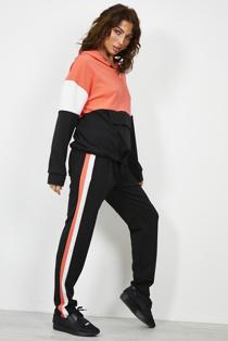 Coral Colour Block Half Zip Hoodie Loungwear Set