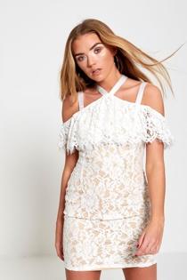 Cream Cold Shoulder Underlay Fray Mini Dress