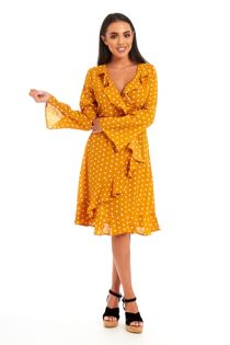 Mustard Polka Dot Ruffled Wrap Midi Dress