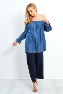 Dark Denim Pearl Detail Bardot Shirt