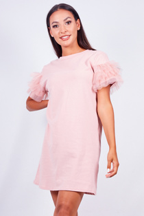 Dusty Pink Tulle Frill Sleeve T-Shirt Dress