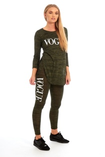 Green Vogue Print Tracksuit