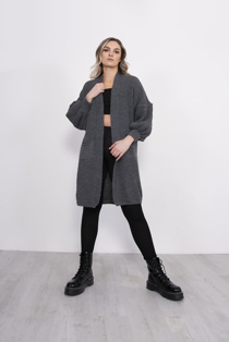 Charcoal Balloon Sleeve Pocket Knitted Cardigan